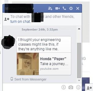 Student sending Honda Paper vid