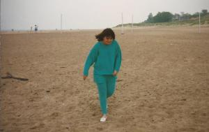 The radiant (as all new brides are), if somewhat chilly, Mrs. Dull, on a windy May afternoon on New Buffalo Beach.