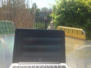 Working from my outdoor office. Grilled breakfast always brings inspiration.
