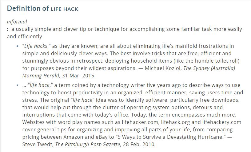 Lifehack Definition